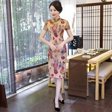 Plus Size M-XXXL Chinese Style Dress Women's Traditional Satin Qipao Sexy Cheongsam Spring Autumn Flower Dresses