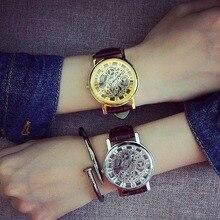 2018 Новый Для мужчин Для женщин Роскошные модные кварцевые часы выдалбливают браслет наручные часы из искусственной кожи черный пару часов Батарея собран в