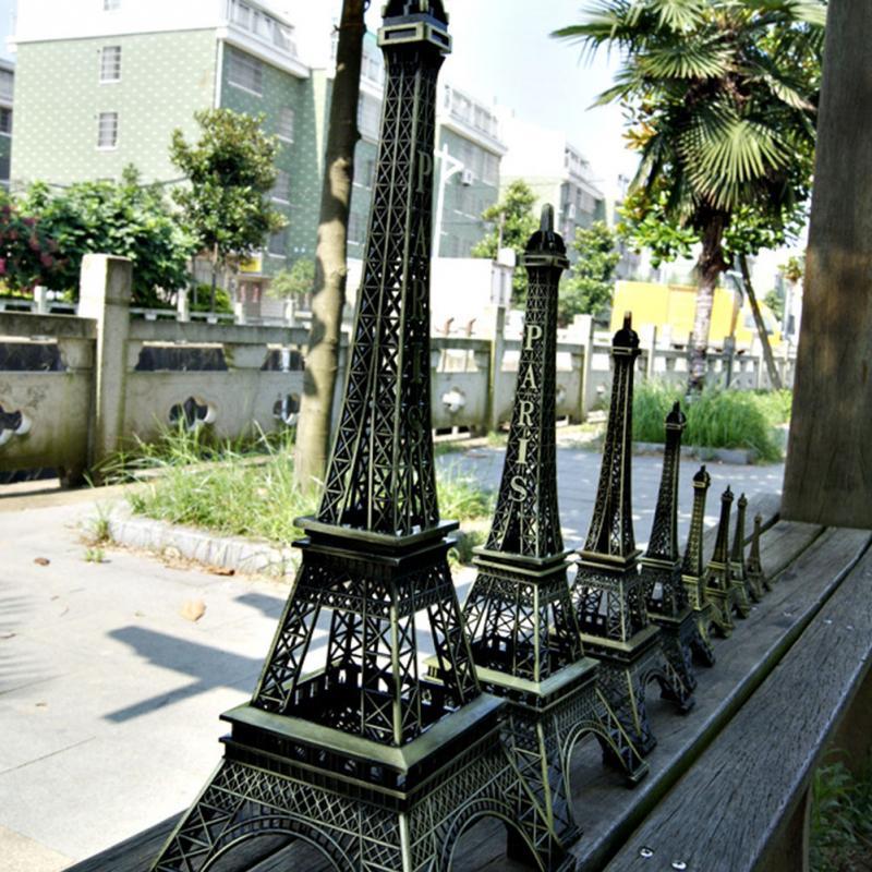 Fashion Romantic Retro Metal Crafts Vintage Bronze Tone  Effiel Tower Figurine Statue Home Decor