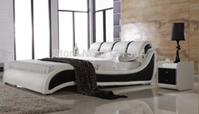 БОЛЬШОЙ мягкая кровать king size PU + ПВХ кожа мягкая кровать C385