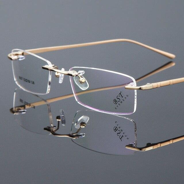 Vazrobe Ouro Quadro Homens Óculos Armações de óculos de Metal Sem Aro Óculos  (Lente óptica fe22d9c5ae