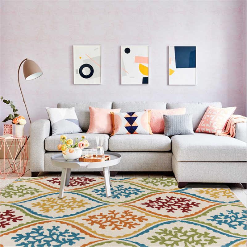 Alfombras de alfombra con patrón de flores onduladas estilo étnico Simple para sala de estar alfombra de piso alfombras antideslizantes de dormitorio alfombra