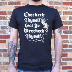Design de moda original checketh thyself antes de seu naufrágio thyself camiseta (masculino) streetwear