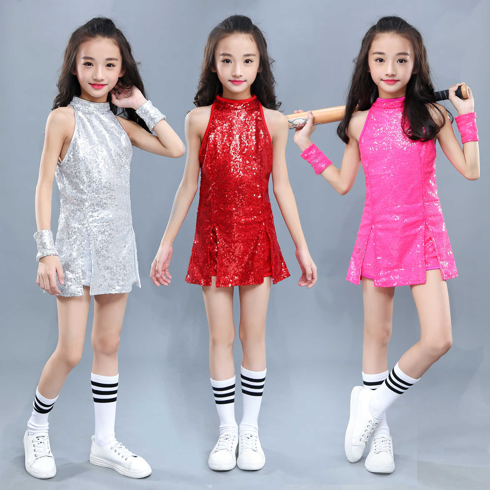 Paillette Children Jazz Dance Costume for Stage Performance Hip-hop Dance  Clothing Cheerleading Uniform Street DJ Dance Clothing