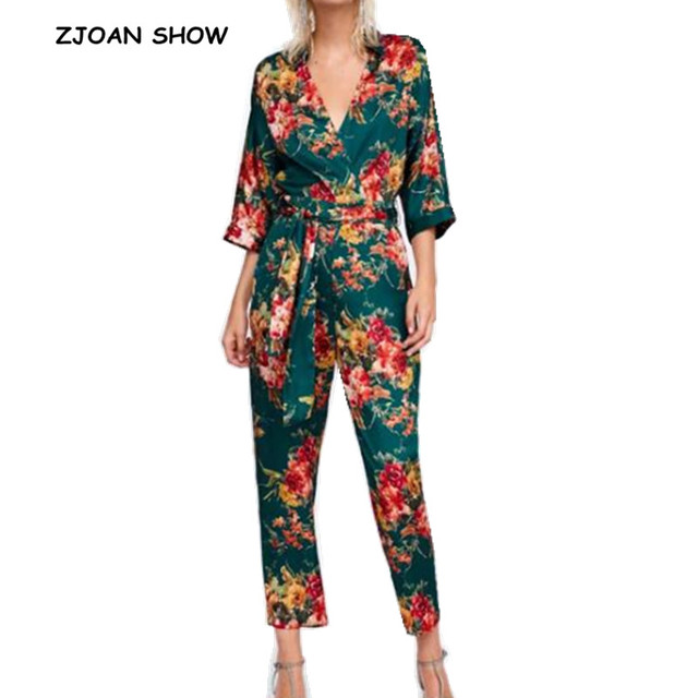 0d56344c81a Retro Lapel V neck Flower Print Jumpsuit New 2018 Woman Long sleeve Bow  tied Sashes Full
