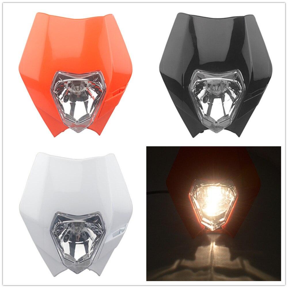 Motorcycle Dirt Bike Motocross Supermoto Headlamp Universal Headlight Fairing For KTM SX F EXC XCF SMR Head Light 12V 35W H4