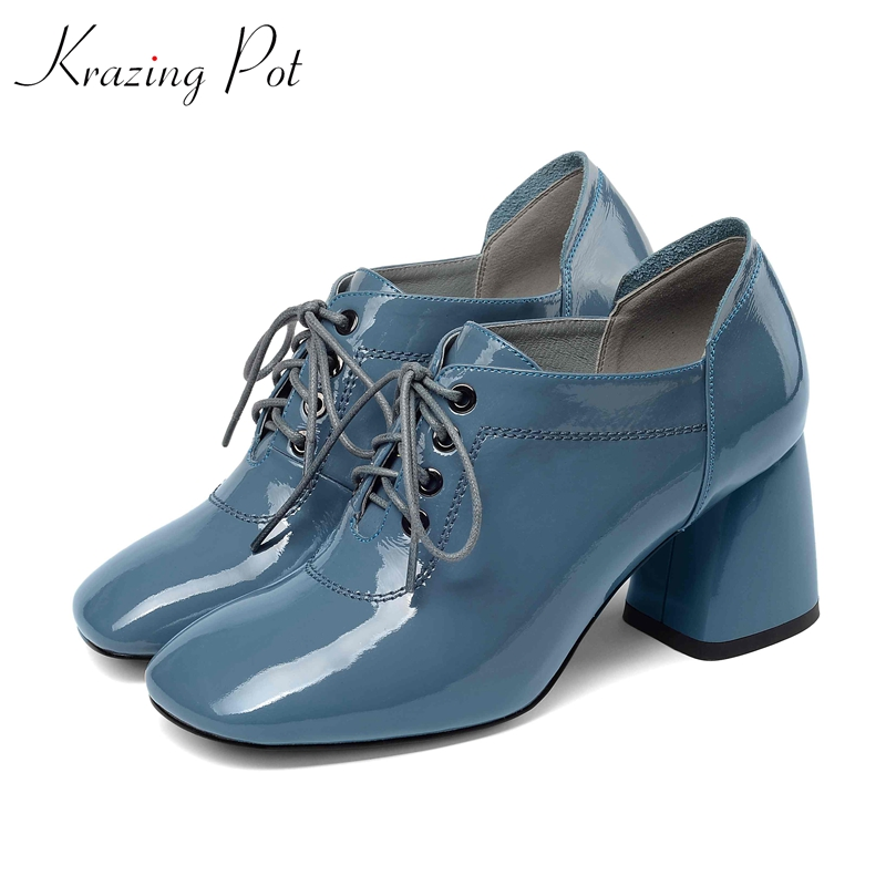 Krazing 냄비 2019 정품 가죽 두꺼운 하이힐 레이스 oxfords 성숙한 여성 광장 발가락 단색 봄 가을 펌프 l92-에서여성용 펌프부터 신발 의  그룹 1