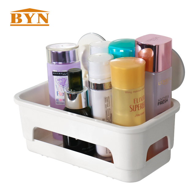 BYN Wall mounted bathroom suction cup caddy shower shampoo storage ...