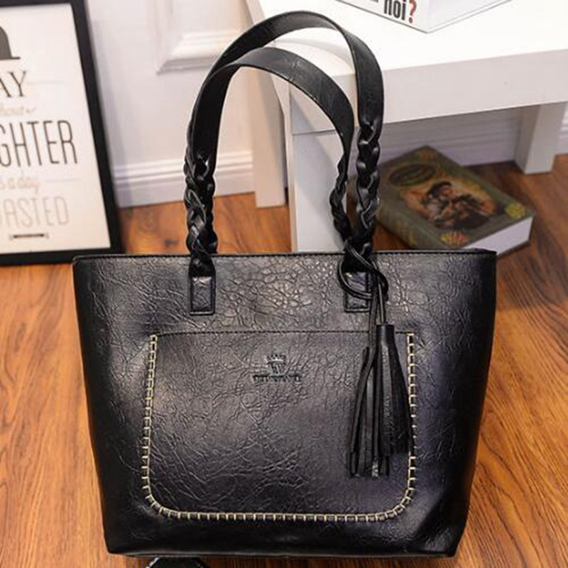 Sayzisfa 2018 Fashion fringed bag hand-woven leather handbag Europe and the United States simple shoulder bags PU large bag T648 2017 new leather handbags tide europe and the united states fashion bags large capacity leather tote bag handbag shoulder bag