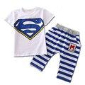 Летние Мальчики Одежды 2016 Супермен Белая Рубашка + Полосатые Брюки Мальчиков Костюм Случайные Дети Спортивный Костюм 2-8Y Мальчиков Одежда C40