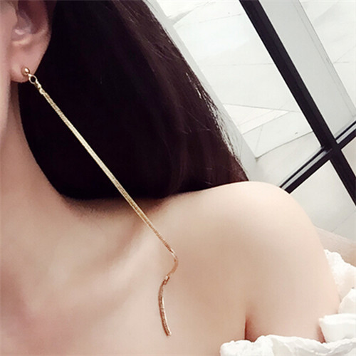 Elegant Simple Statement Super Long Earrings For Women Bijoux 2017 New Gold Color Jewelry Whole All Match Earings In Drop From