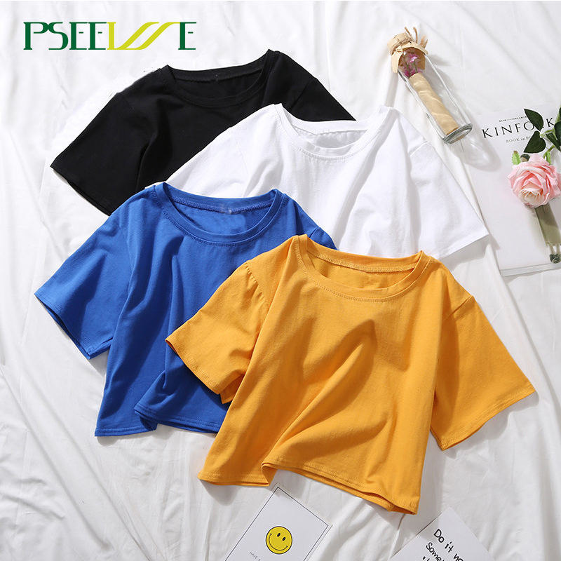10 Colors Summer O Neck Sexy Crop Top Ladies Short Sleeve T Shirt Tee Black White Short T-shirt Basic Stretch T-shirts Lumbar