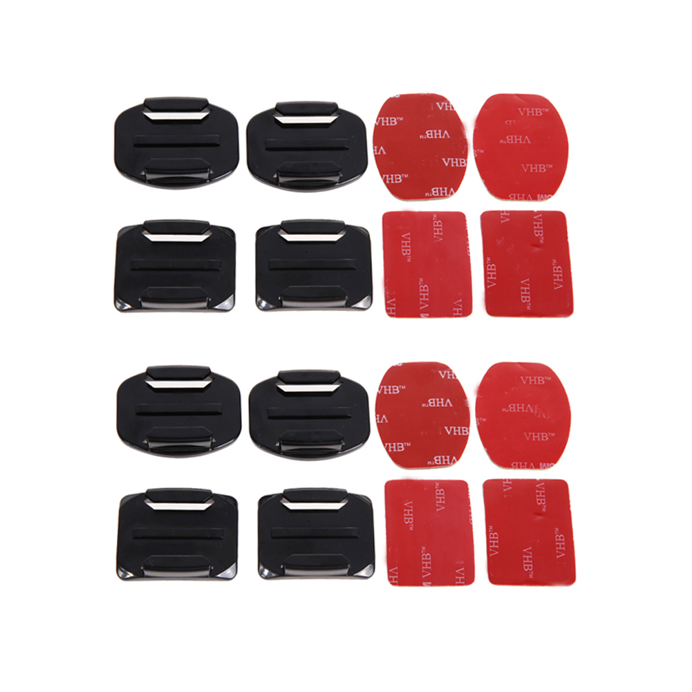 16Pcs/8Sets Sport Action Camera Flat Curved Adhesive Mount Helmet Fixed Base Holder Kit Accessories For Gopro Hero 1/2/3/3+/4/5