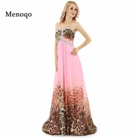 Abendkleider Real Photo Formal Evening Gowns Long Prom Dress 2015 A Line Sweetheart Beaded Chiffon Leopard
