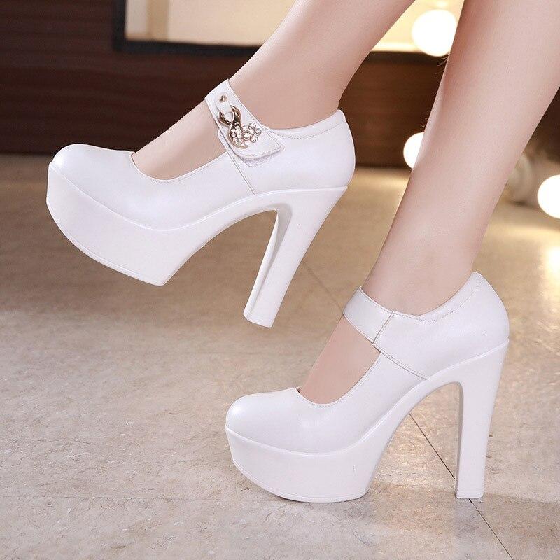 Plus Size 32 43 Rhinestone Wedding Shoes Block Heels Pumps Women 2018 White Silver Red Extreme High Heel Shoes Platform