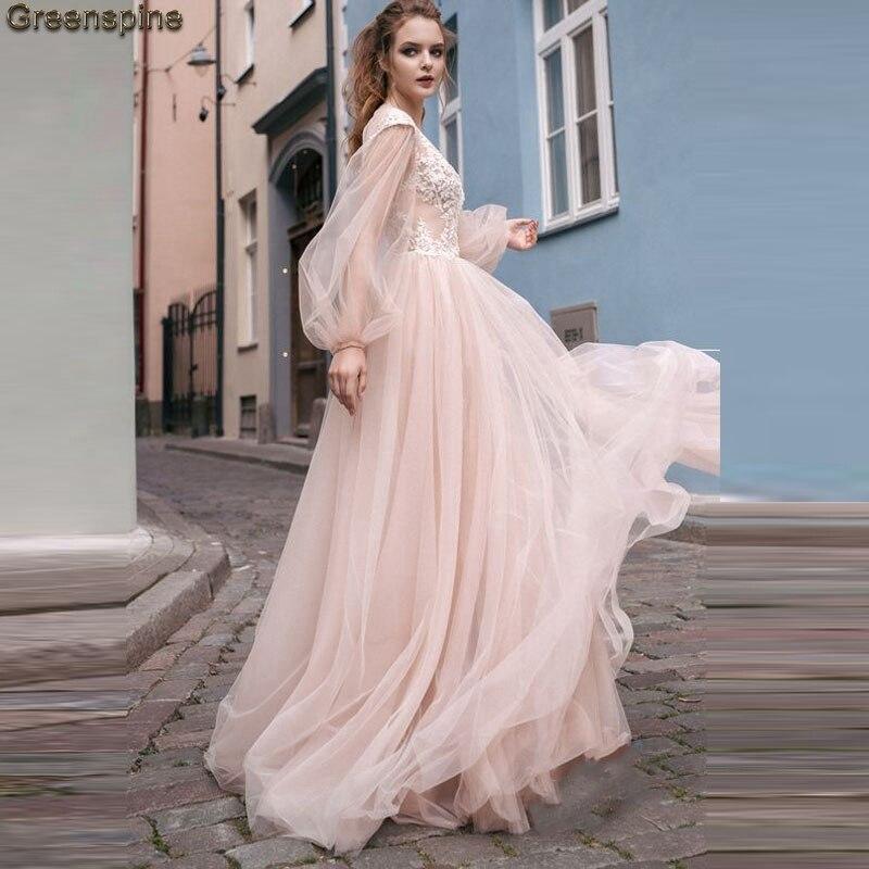 Greenspine Boho Wedding Dresses Long Sleeve 2019 Lace Sexy Bride Dress Backless Robe De Mariage Peach Wedding Gown For Beach