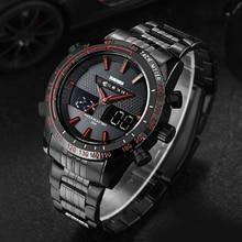 2016 Nueva Skmei Marca Hombres Deportes Relojes de Lujo de Acero Llena militar Moda Casual Reloj de Cuarzo LED Digital Relojes de Buceo