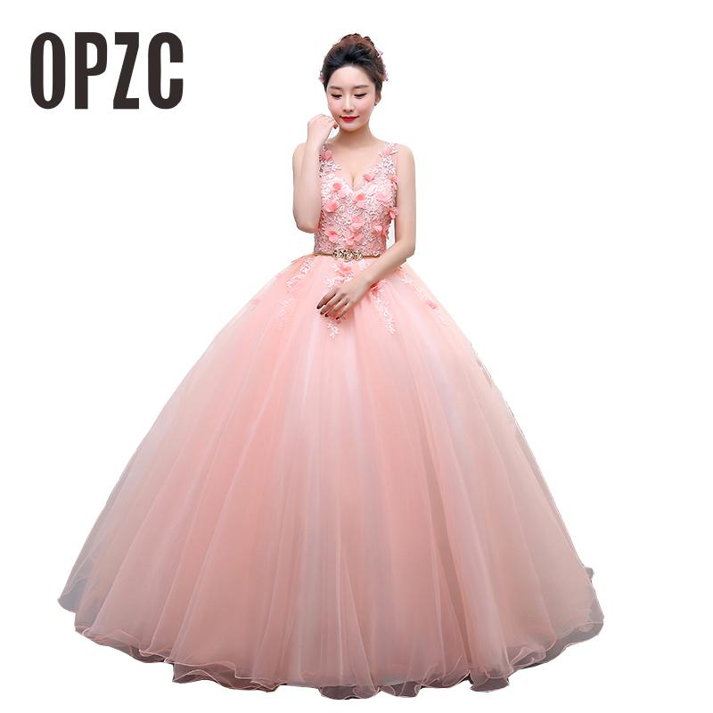 Colored wedding dress 2017 New Korean Style Sexy V Neck Lace Flower Pink Princess Gowns For