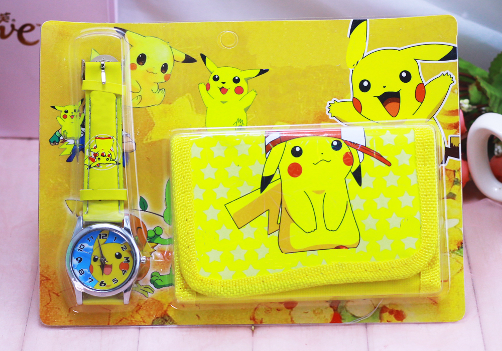 1pcs Hot Sale! New Lot Pikachu Sets Cartoon Kids Part Set Watch Wristwatch And Wallet Purse