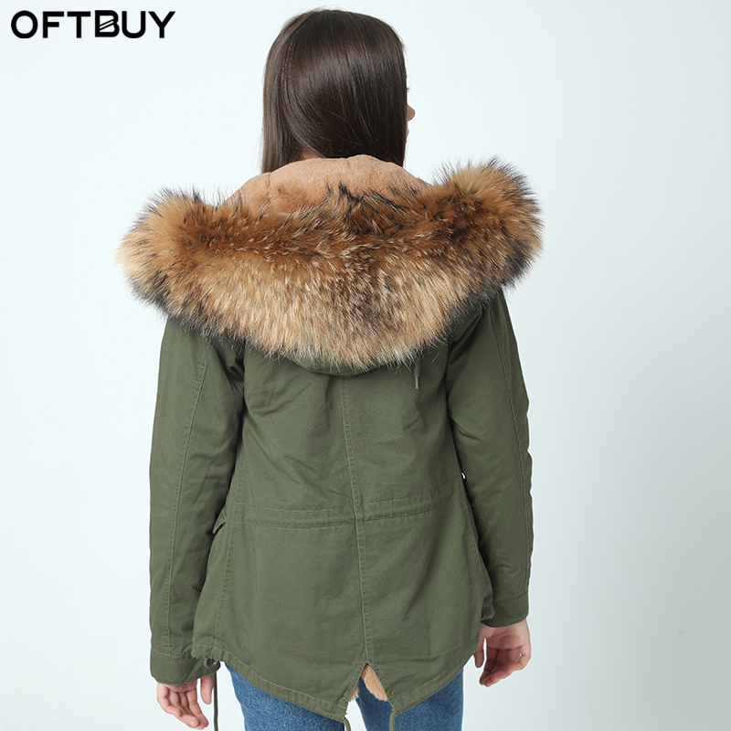 OFTBUY 2019 new big raccoon natural real fur coats for women winter jacket women winter coat women   parka   Thick lining ukraine