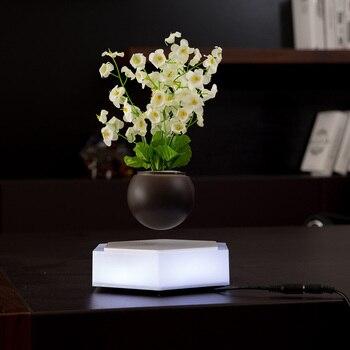 Magnétique Suspension LED pot de fleur Flottant Pot Home Decor Lévitation Air Bonsaï Pot Tournant pour La Maison Bureau Décoration Accessoires