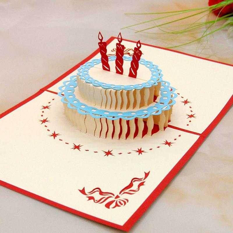 Novelty Design Fashion 3D Birthday Cake Shaped Happy Birthday – 3d Birthday Card