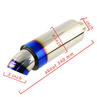 Hot Sale 1PCS Universal 2'' Burned Blue JS RACING JASMA Car Exhaust Pipe 3'' Straight through Muffler Sound Bomb Free Shipping