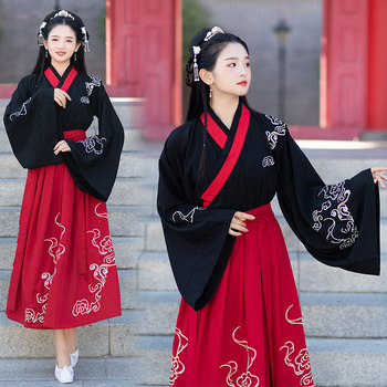 Embroidery Hanfu Classical Dance Costume Neutral Festival Outfit Folk Stage Performance Clothes Women Men Fairy Dress DF1158