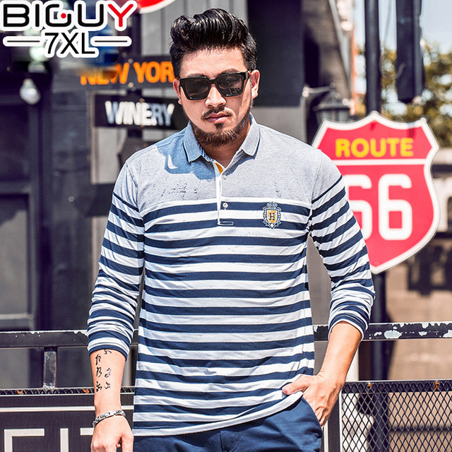 BIG GUY Long Sleeve Polo Shirts Men 2017 New Spring Casual Striped Polo Shirt Men Plus Size Male Polos 4xl 5xl 6xl 7xl 1538