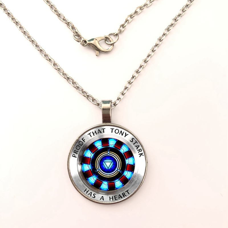 GDRGYB 2019 Iron man, Tony Stark Tibet silver Glass dome Pendant necklace chain Wholesale