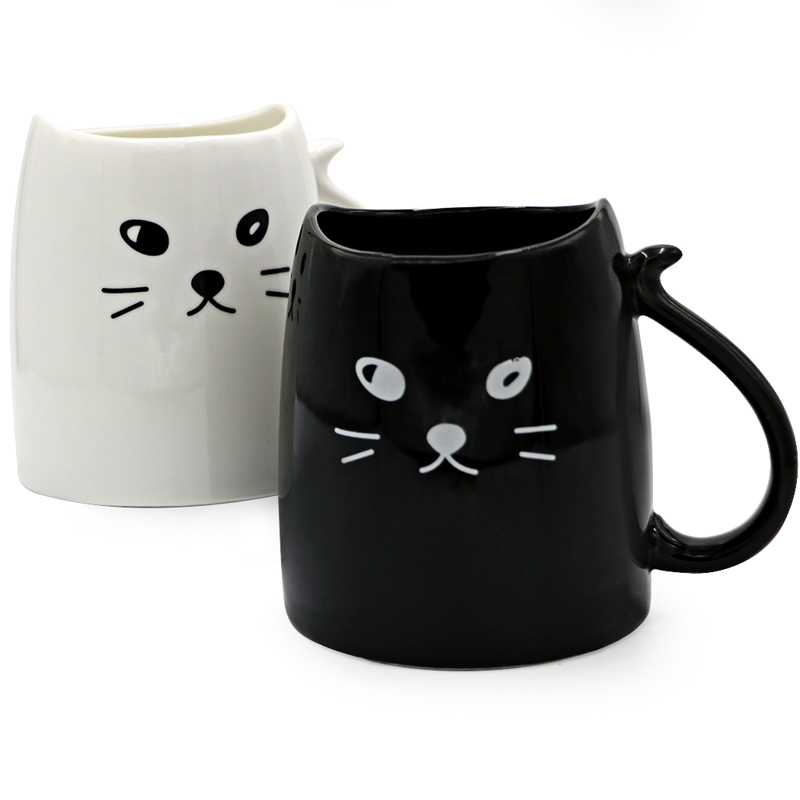 Teagas Cool Cat Coffee Mugs 12 Oz Black White Morning Milk Tea Ceramic Set Gift For Crazy In From Home Garden On