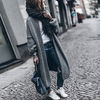CHICEVER 2017 Batwing Sleeve Long Female Sweater For Women Loose Big Size Knitting Autumn Cardigan Sweaters
