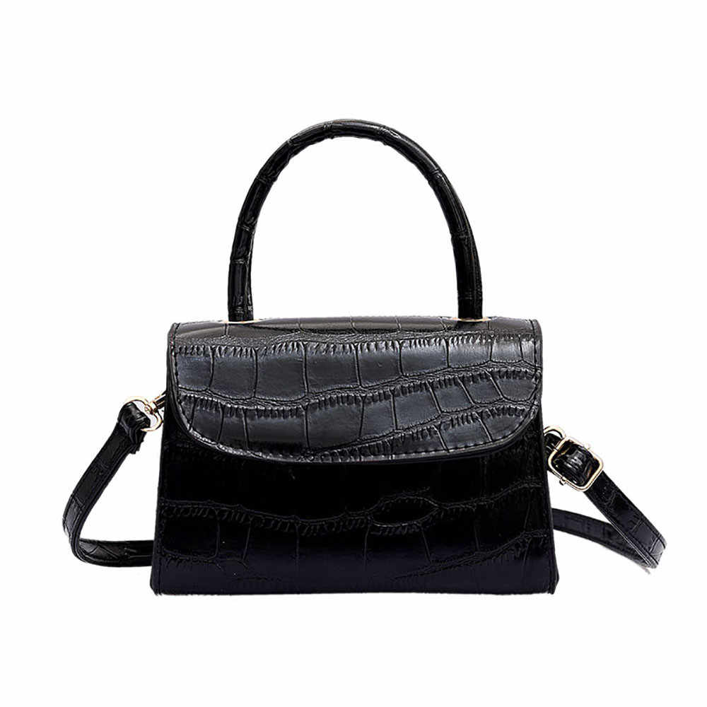 6490bfc8f8a68 2019 New hundred shoulder bag ladies fashion retro simple crocodile tattoo  shoulder strap small square bag