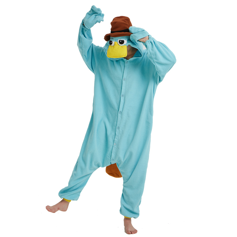 Unisex Perry The Platypus Fleece Costume Onesies Monster Kigurumi Cosplay Pajamas Adult Pyjamas Animal Sleepwear Jumpsuit Women