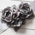 Мода Сжечь цветок створки пояса женщин пояса дети девушка sash пояс Свадебные створки Пояса Серый 1 шт.