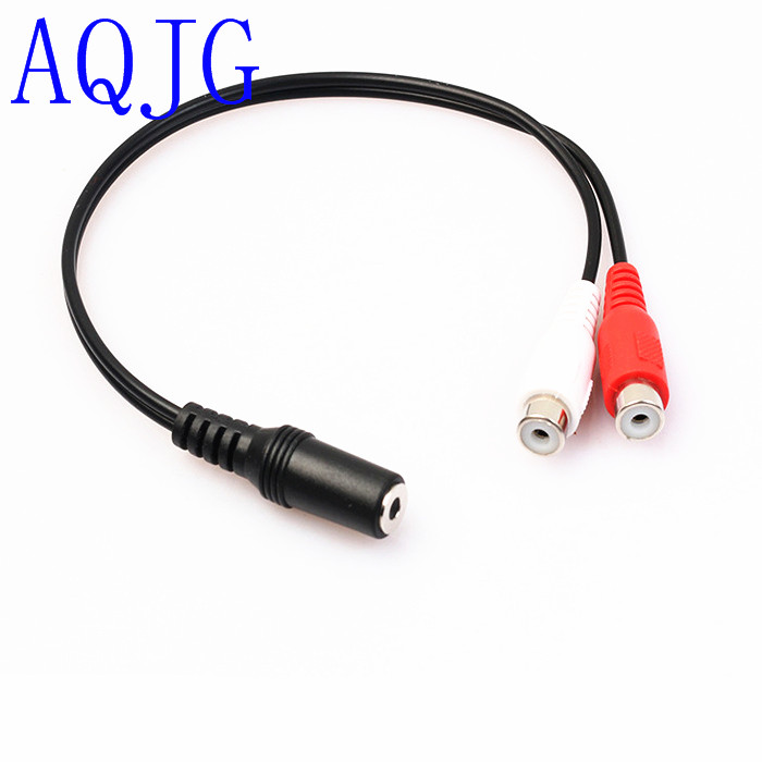 3.5mm Stereo Audio Female Jack to Double Lotus 2 RCA Female Socket 3.5 mm to 2RCA Adapter Cable Conversion Line for Headphone gold 2 5 mm male to 3 5 mm female audio stereo adapter plug converter headphone jack wholesale aqjg