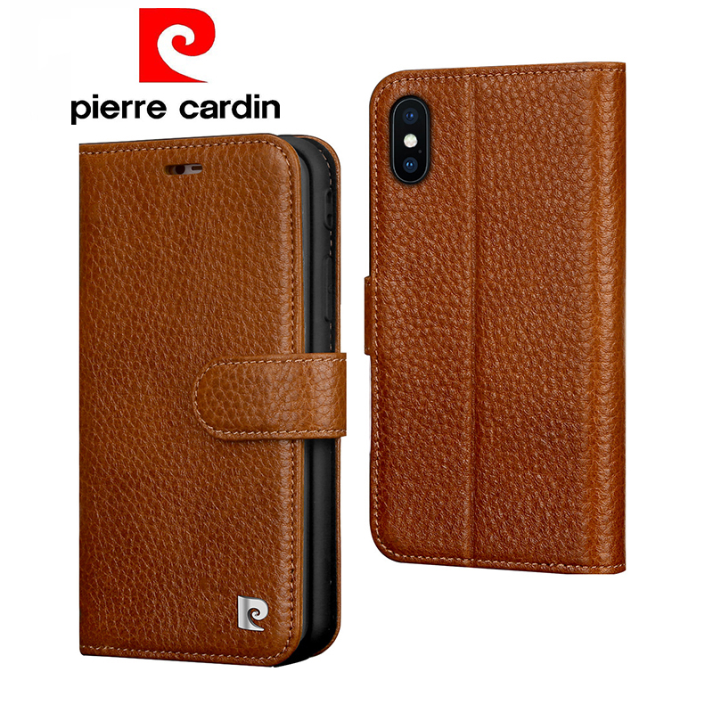 Pierre Cardin Flip Genuine Leather Case For iPhone X XR XS Max Luxury Wallet Card Slots Phone Case For iPhone X XR XS Max CoverPierre Cardin Flip Genuine Leather Case For iPhone X XR XS Max Luxury Wallet Card Slots Phone Case For iPhone X XR XS Max Cover