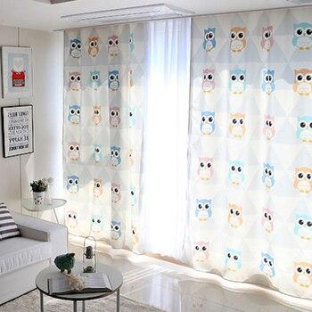 1x  Grommet Window Draperies Curtain Nursery Kids Children Room Window Dressing Covering 145 x 180cm 220cm 240cm 270cm Owls