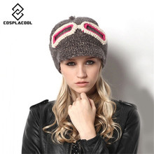[COSPLACOOL] Autumn and winter patch glasses knitted cap women's lovely hat warm thick line head cap