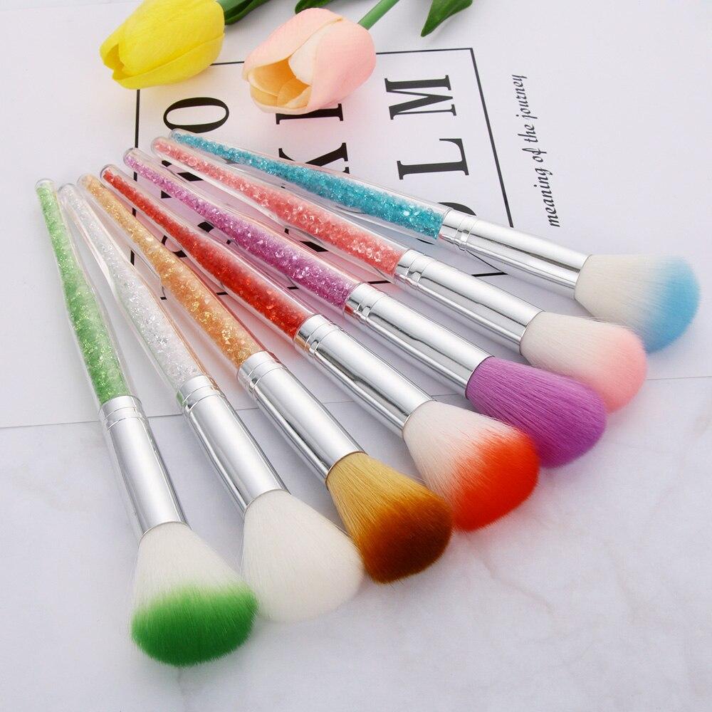 1 Pc 7 Colores Pinceles Para Uñas Arte Manicura Uñas Brillo Cepillo Polvo Limpieza Acrílico Uv Gel Removedor De Polvo De Diamantes De Imitación Manejar Herramientas
