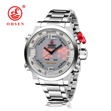 OHSEN Brand Luxury Full Silver Stainless Steel Watches Mens Quartz Business Casual Dual Display Watch Clock Man Reloj Hombre