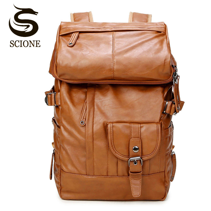 Laptop Backpack Men Shoulder Bag PU Leather Travel Backpack School Male Bags Large Capacity Backpacks Notebook Rucksack Black large capacity backpack laptop luggage travel school bags unisex men women canvas backpacks high quality casual rucksack purse