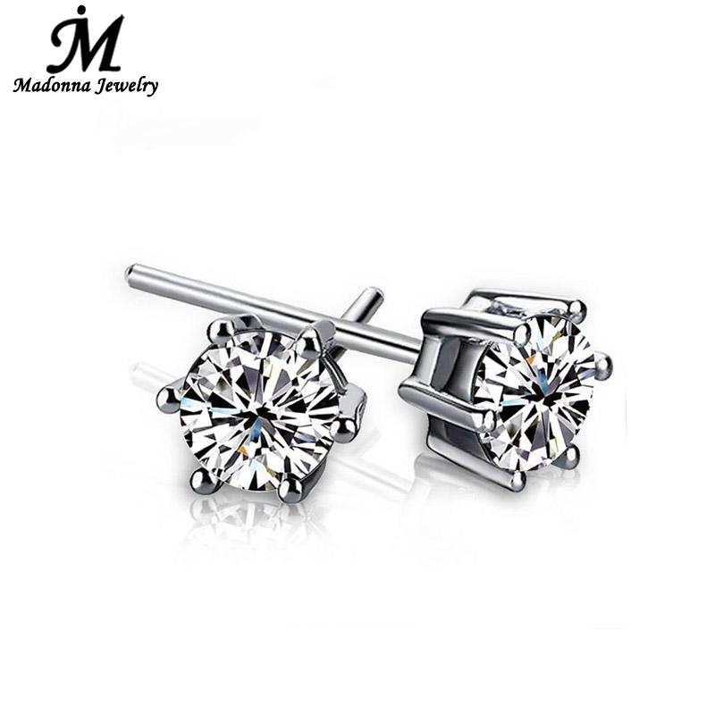 2016 Fashion cartilage earrings for men Womenunisex Silver plated Jewelry Simple Six Claw Inlay White Luxury Crystal Wholesale