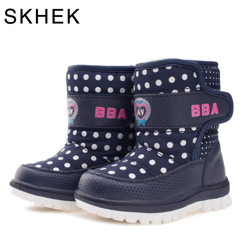 SKHEK Merek Anak Musim Dingin Sepatu Salju Mewah Untuk Anak Perempuan Boy Karet Zip Round Toe Boots Unisex Ankle Sepatu Tahan Air C1751