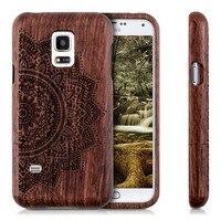 Qualidade Premium Bússola Em Branco Flor Carving Caso de Madeira Tampa de madeira de Bambu Natural Para Samsung Galaxy S5 Mini seu Smartphone