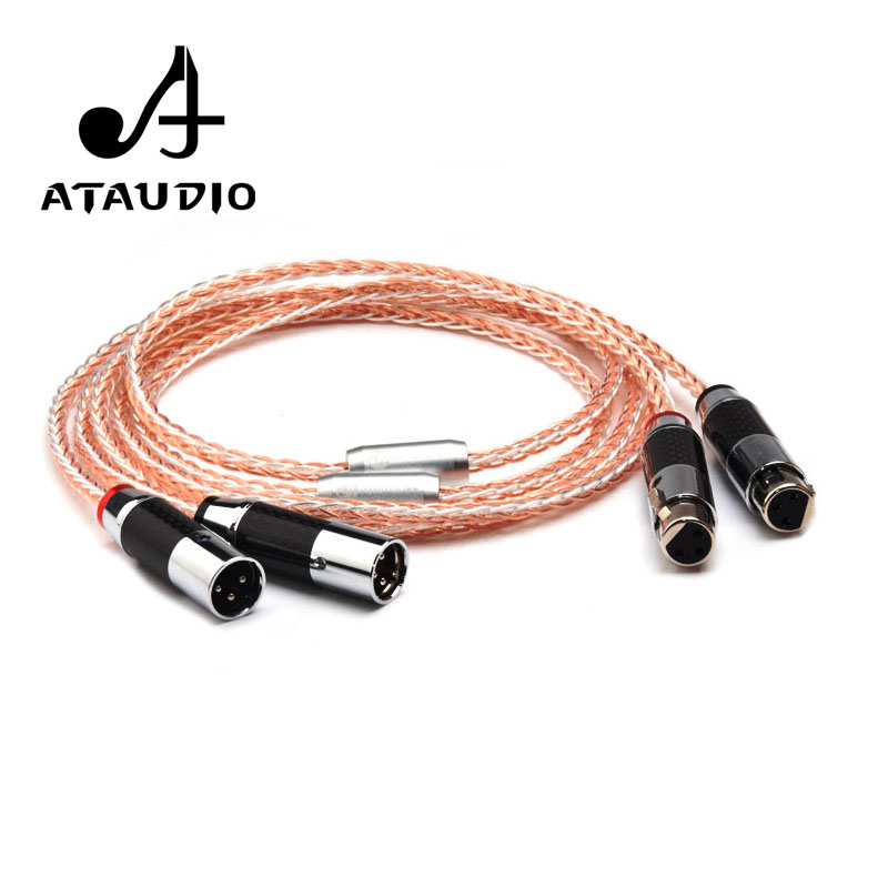 ATAUDIO Hifi XLR Cable 7N OCC Silver and Copper 3 Pin 2XLR Male to Female Cable 1m 2m 3m