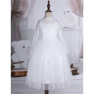 Image 3 - Dziewczęca sukienka w kwiaty z długimi rękawami śliczna biała koronka na wesela dzieci suknia wieczorowa dziewczyny księżniczka pierwsza komunia sukienek