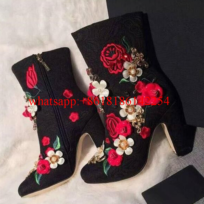 Square Heel Pumps with Embroidery Flowers font b Women b font s font b Shoes b