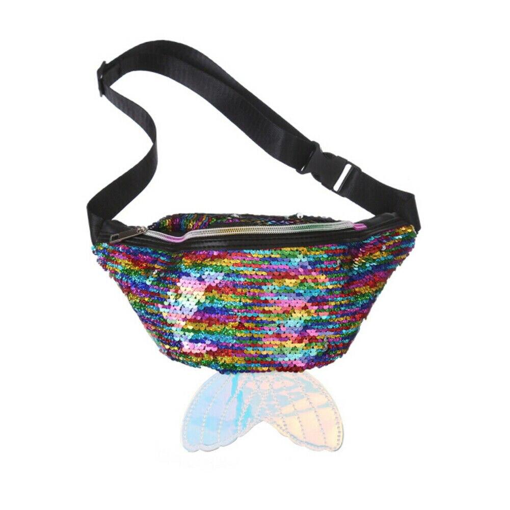 Women's Fanny Pack Colorful Sequin Waist Bag Chest Pouch Shoulder Waist Bag Women Small Belt Bag Cool Fanny Packs Hip Bag