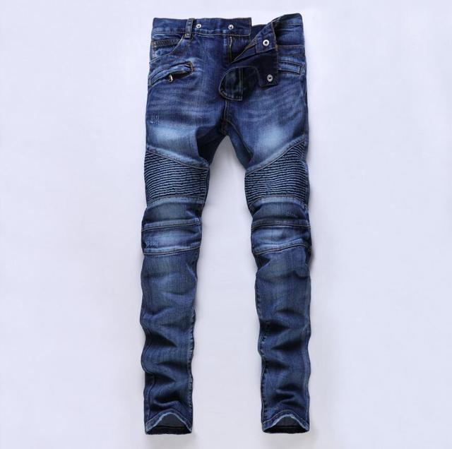 f52a80f112c4c Pantalones vaqueros para hombre 2017 nueva moda Delgado pliegue Jeans  hombres marca pantalones de mezclilla de